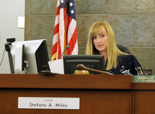 Judge Stefany Miley presides over the case of Mark Thomas Georgantas at the Regional Justice Center Monday, April 4, 2016, in Las Vegas. The Nevada Attorney Generals office filed an indictment aga ...