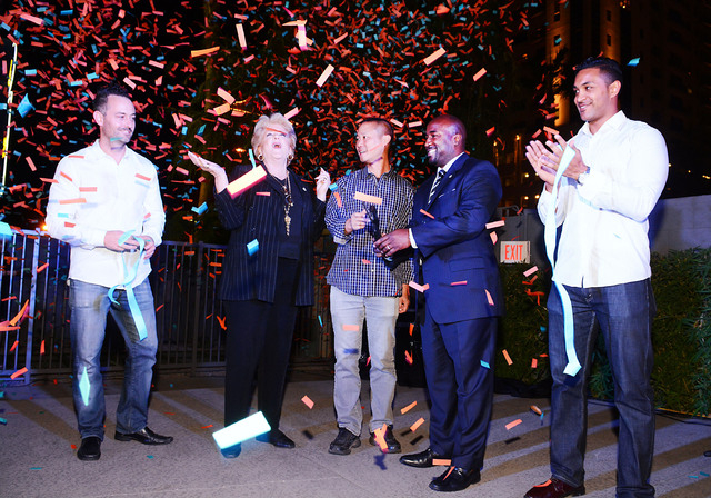 Center (l-r)  Mayor Carolyn G. Goodman, Zappo's CEO Tony Hsieh and Las Vegas City Councilman Ricki Barlow at the ribbon-cutting for the Oasis at the Gold Spike Hotel and Casino on Oct. 29, 2014. ( ...
