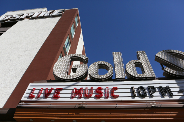 Signage is shown at Gold Spike Tuesday, March 22, 2016, in Las Vegas. Gold Spike, with new design and ownership by Downtown Project, will celebrate its third year this May. Ronda Churchill/Las Veg ...