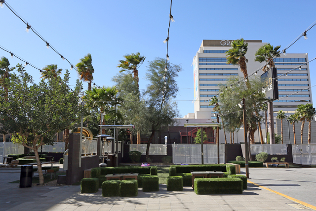A back patio with lounge space and games is shown at Gold Spike Tuesday, March 22, 2016, in Las Vegas. Gold Spike, with new design and ownership by Downtown Project, will celebrate its third year  ...