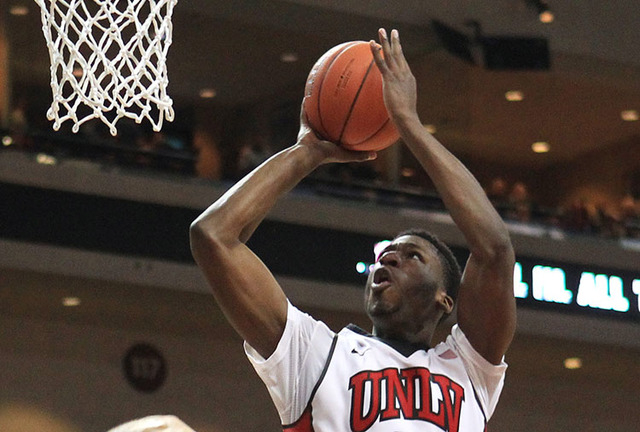 UNLV forward Goodluck Okonoboh, seen in 2014 at the Orleans Arena. (Las Vegas Review-Journal)