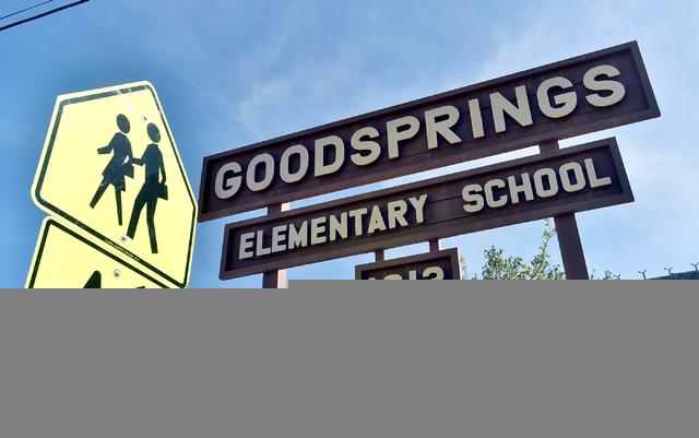 A sign marks the the Goodsprings Elementary School Tuesday, April 5, 2016, in Goodsprings. David Becker/Las Vegas Review-Journal Follow @davidjaybecker
