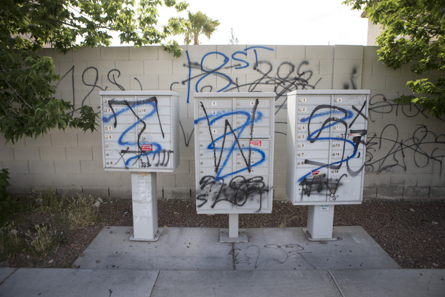 Gang graffiti is seen near Washington Avenue and Ringe Lane on Tuesday, April 19, 2016, in Las Vegas. Erik Verduzco/Las Vegas Review-Journal Follow @Erik_Verduzco