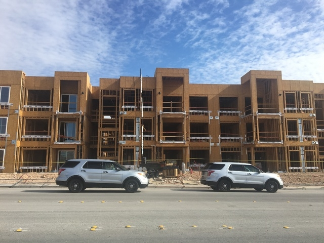 A security guard was found shot to death near a construction site on Hacienda Avenue near Fort Apache Road on Wednesday, April 27, 2016. (Bizuayehu Tesfaye/Las Vegas Review-Journal Follow @bizutes ...
