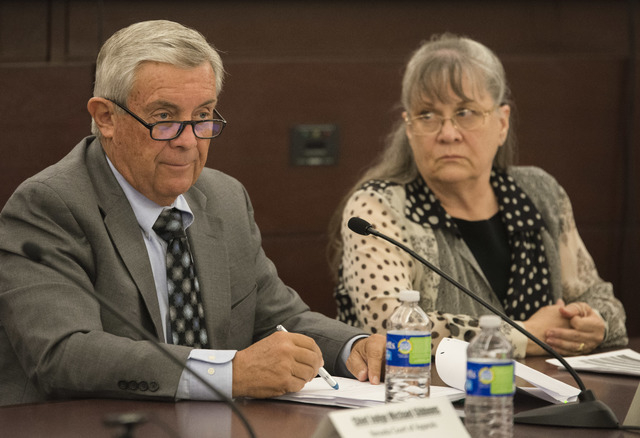 Nevada State Supreme court justice James Hardesty and Eighth Judicial District court judge Cynthia Dianne Steel work on the Nevada Supreme court panel at the Regional Justice Center in Las Vegas t ...