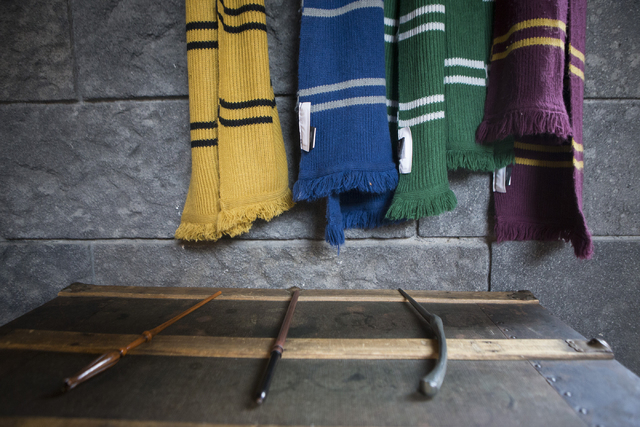 Hogwarts Express compartment props, designed for an interactive photo opportunity at The Wizarding World of Harry Potter at Universal Studios, are seen on Friday, March 18, 2016, in Universal City ...