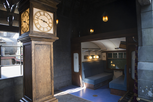 A Hogwarts Express compartment designed for an interactive photo opportunity is seen inside The Wizarding World of Harry Potter at Universal Studios on Friday, March 18, 2016, in Universal City, C ...
