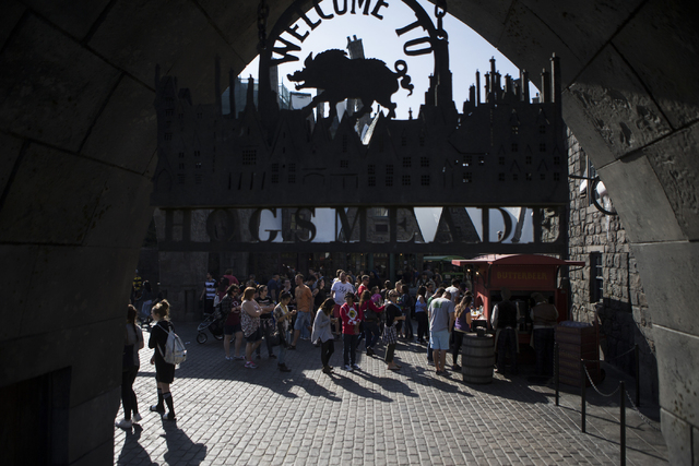 People line up to purchase Butterbeer inside The Wizarding World of Harry Potter at Universal Studios on Friday, March 18, 2016, in Universal City, Calif. Erik Verduzco/Las Vegas Review-Journal Fo ...