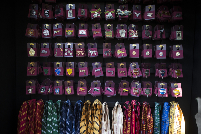 Pins and lanyards are seen for sale inside The Wizarding World of Harry Potter at Universal Studios on Friday, March 18, 2016, in Universal City, Calif. Erik Verduzco/Las Vegas Review-Journal Foll ...