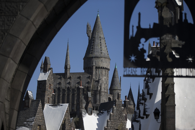 The entrance to Hogwarts Castle, which houses the Harry Potter and the Forbidden Journey 3-D ride, is seen inside The Wizarding World of Harry Potter at Universal Studios on Friday, March 18, 2016 ...