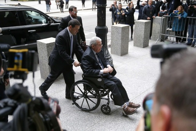 Former House Speaker Dennis Hastert arrives at the federal courthouse on Wednesday, April 27, 2016, in Chicago, for his sentencing on federal banking charges which he pled guilty to last year. (Ch ...