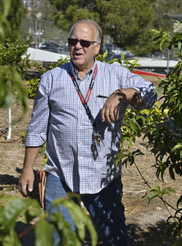 Special education teacher Gary Manning is shown March 31 in the community garden he helped start two years ago at Coronado High School in Henderson. Bill Hughes/View