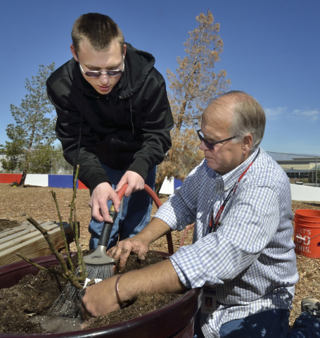 Student A.J. Grant waters a freshly planted rosebush with special education teacher Gary Manning in the community garden at Coronado High School in Henderson March 31. Bill Hughes/View