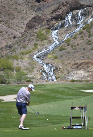 One of the waterfalls featured at the Cascata Golf Course is shown at the driving range at 1 Cascata Drive in Boulder City on Thursday, April 21, 2016. Bill Hughes/Las Vegas Review-Journal