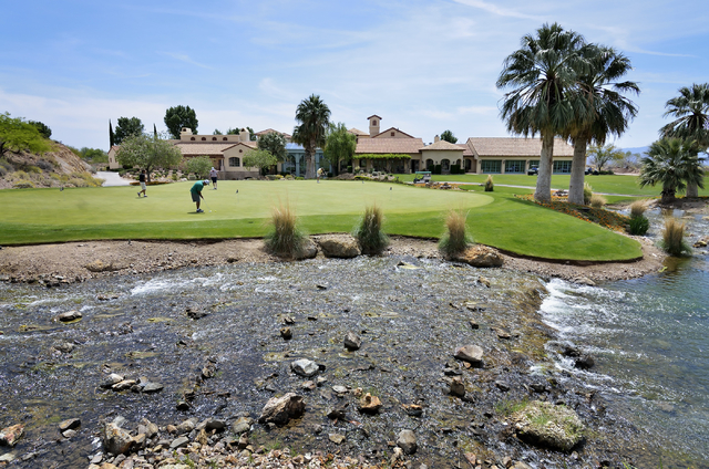 The clubhouse and putting green are shown at the Cascata Golf Course at 1 Cascata Drive in Boulder City on Thursday, April 21, 2016. Bill Hughes/Las Vegas Review-Journal