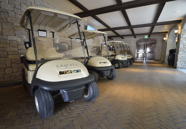 Golf carts are shown in a covered staging area at the Cascata Golf Course at 1 Cascata Drive in Boulder City on Thursday, April 21, 2016. Bill Hughes/Las Vegas Review-Journal