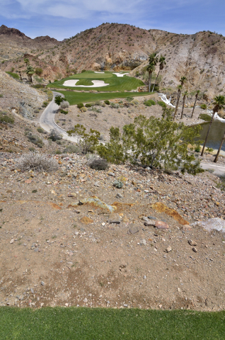 The view from an elevated tee box is shown at the Cascata Golf Course at 1 Cascata Drive in Boulder City on Thursday, April 21, 2016. Bill Hughes/Las Vegas Review-Journal