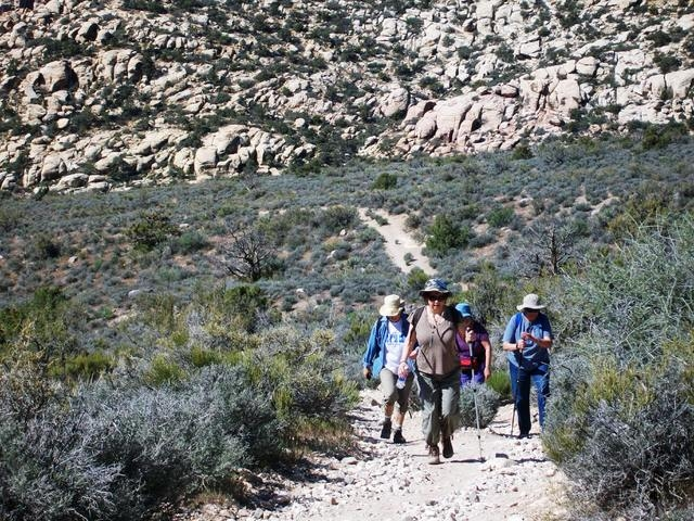 Members of the Westside Newcomers Club hike at the Red Rock Canyon National Conservation Area. The nonprofit women's social organization focuses on providing friendship and support through 40 di ...