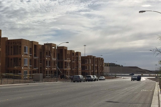 A security guard was found shot to death near a construction site on Hacienda Avenue near Fort Apache Road on Wednesday, April 27, 2016. (Kira Terry/Las Vegas Review-Journal)