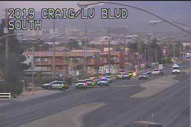 Las Vegas police are investigating a homicide near Las Vegas Boulevard North and Nellis Boulevard, Thursday, April 7, 2016. (RTC FAST Cameras)