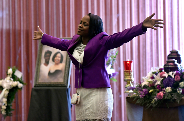 Briaunni Taylor sings during a funeral service for her mother, Felicia Hughes-Wimberly, at Palm Mortuary on Friday, April 8, 2016. Hughes-Wimberly and her son, Branden Hughes, were killed at a nei ...