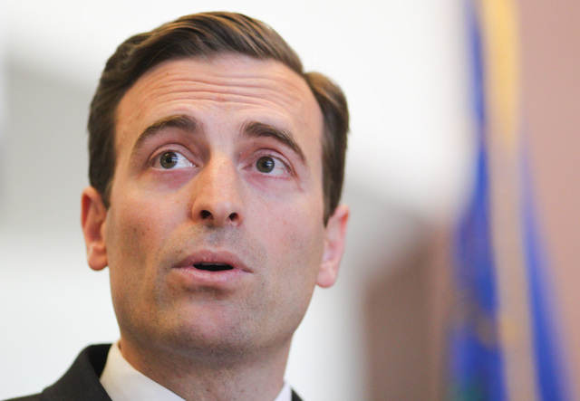 Nevada Attorney General Adam Laxalt speaks with news media on April 28, 2015. (Chase Stevens/Las Vegas Review-Journal)