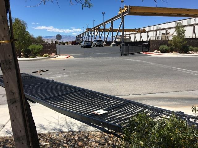 Damage seen at PDM Steel Services Center in Las Vegas on Saturday (Bizuayehu Tesfaye/Las Vegas Review-Journal)