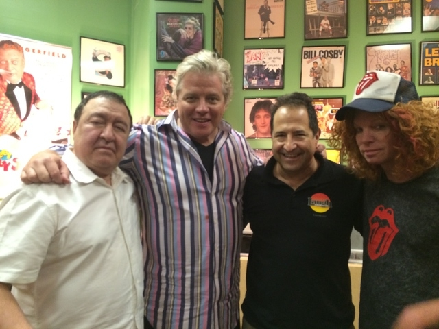 The Laugh Factory green room with, from left, Dom Irrera, Tom Wilson, Harry Basil and Carrot Top. (courtesy photo)