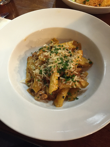 Garganelli tossed with smoked chicken, caramelized onion, ancho garlic cream and Parmesan cheese shown at Glutton, 616 E. Carson Ave., Suite 110. Caitlyn Lopez/Special to View