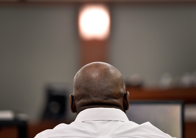 Billy Ray James sits in the courtroom at the Regional Justice Center Tuesday, April 19, 2016, in Las Vegas. James was convicted of murder in the 2010 death of Willie Henderson. After James' convic ...