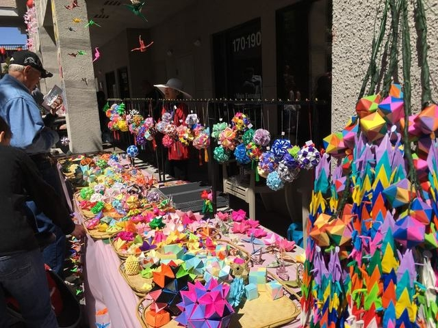 A colorful display of origami was created by members of the Kizuna Japanese Society for its first Spring Japanese Festival in Las Vegas. (Courtesy Kizuna Japanese Society)