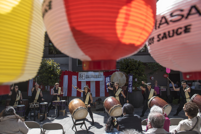 Traditional Japanese art drums ensemble Korabo Taiko performs during a Japanese Spring Festival presented by the local Kizuna Japanese Society on Saturday, April 16, 2016, in Las Vegas. Martin S.  ...