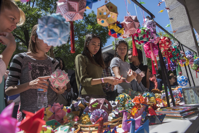 Patrons check out origami figures during a Japanese Spring Festival presented by the local Kizuna Japanese Society on Saturday, April 16, 2016, in Las Vegas. Martin S. Fuentes/Las Vegas Review-Journal