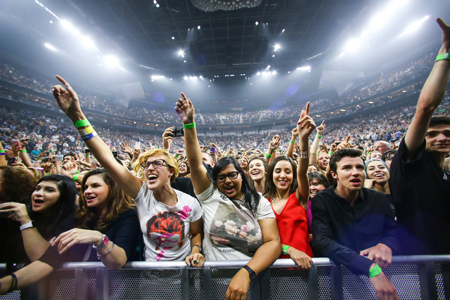 Fans cheer as The Killers perform during the grand opening of the T-Mobile Arena in Las Vegas on Wednesday, April 6, 2016. Chase Stevens/Las Vegas Review-Journal Follow @csstevensphoto