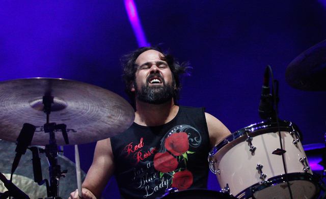 Ronnie Vannucci of The Killers performs during the grand opening of the T-Mobile Arena in Las Vegas on Wednesday, April 6, 2016. Chase Stevens/Las Vegas Review-Journal Follow @csstevensphoto