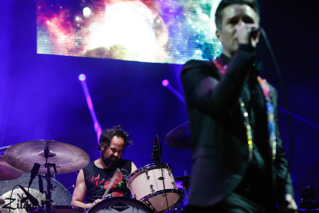Ronnie Vannucci, left, and Brandon Flowers of The Killers performs during the grand opening of the T-Mobile Arena in Las Vegas on Wednesday, April 6, 2016. Chase Stevens/Las Vegas Review-Journal F ...