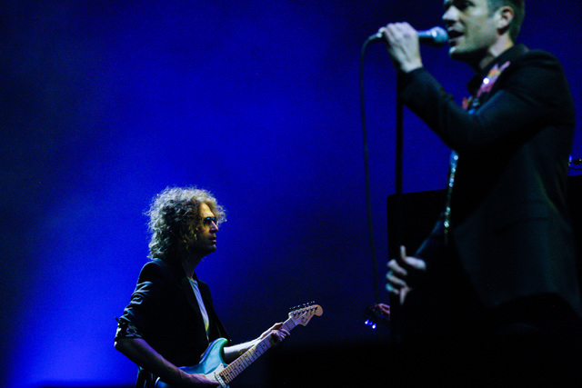 Dave Keuning, left, and Brandon Flowers of The Killers performs during the grand opening of the T-Mobile Arena in Las Vegas on Wednesday, April 6, 2016. Chase Stevens/Las Vegas Review-Journal Foll ...