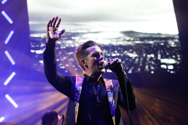 Brandon Flowers of The Killers performs during the grand opening of the T-Mobile Arena in Las Vegas on Wednesday, April 6, 2016. Chase Stevens/Las Vegas Review-Journal Follow @csstevensphoto