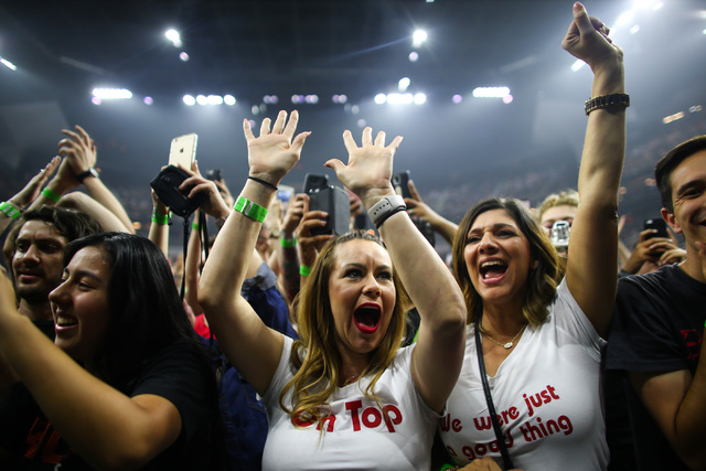 Nicole Kiefe, center, and Silvia Porter, right, cheer before the The Killers perform during the grand opening of the T-Mobile Arena in Las Vegas on Wednesday, April 6, 2016. Chase Stevens/Las Vega ...