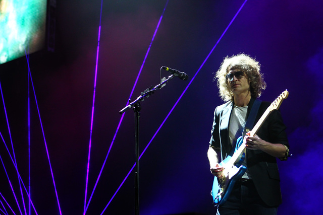 Dave Keuning of The Killers performs during the grand opening of the T-Mobile Arena in Las Vegas on Wednesday, April 6, 2016. Chase Stevens/Las Vegas Review-Journal Follow @csstevensphoto