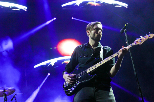 Mark Stoermer of The Killers performs during the grand opening of the T-Mobile Arena in Las Vegas on Wednesday, April 6, 2016. Chase Stevens/Las Vegas Review-Journal Follow @csstevensphoto