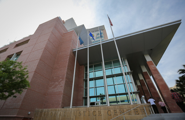 The Clark County Regional Justice Center in downtown Las Vegas is seen on Thursday, April 21, 2016. The Clark County District Attorney's Office will be the subject of an upcoming show called Las V ...