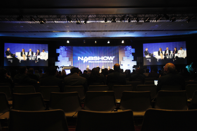 """Makers behind Fox TV's Empire show speak to a crowd during the """"FOX's EMPIRE: Inside the Megahit Broadcast Series"""" panel at the National Association of Broadcasters conference at the Las Vegas Con ..."""
