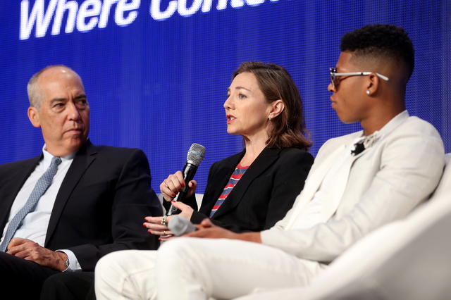 """Chairman and CEO of FOX Television Group Gary Newman, from left, Executive Producer and Showrunner Ilene Chaiken, and actor/musician Bryshere """"Yazz"""" Gray, speak during a panel ab ..."""