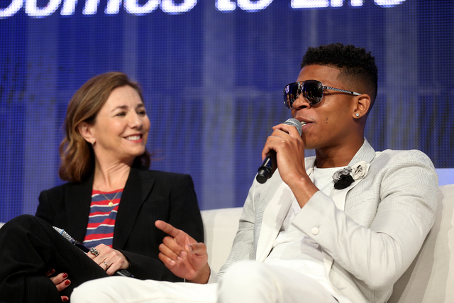 """Executive Producer and Showrunner Ilene Chaiken and actor/musician Bryshere """"Yazz"""" Gray speak during a panel about the FOX show Empire at the National Association of Broadcasters ..."""