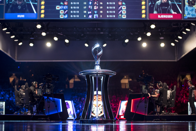 The championship trophy is seen on stage while Counter Logic Gaming battles against TSM during the North America League of Legends Championship Series Spring Final at the Mandalay Bay Event Center ...
