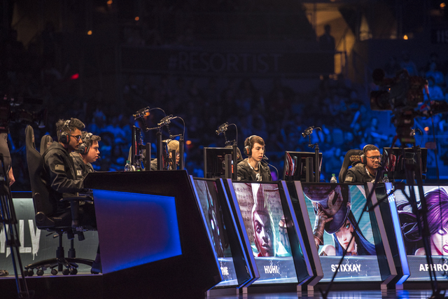 Counter Logic Gaming battles against TSM during the North America League of Legends Championship Series Spring Final at the Mandalay Bay Event Center in Las Vegas on Sunday, April 17, 2016. Counte ...