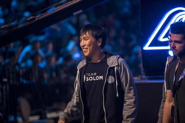 """TSM player Yiliang """"Doublelift"""" Peng walks off stage during an intermission against Counter Logic Gaming during the North America League of Legends Championship Series Spring Final at the Mandalay ..."""