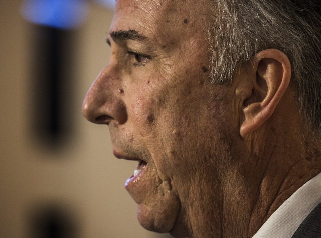 Clark County District Attorney Steve Wolfson speaks to the media after Seong Mo Lee  made his first appearance at Las Vegas Justice Court on Monday, March 9, 2015. Lee, who was on bail for a previ ...