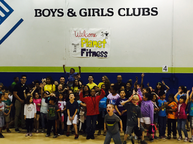 Kids cheer at Lied Memorial Clubhouse during the Four Days of Fitness and Fun, a collaboration of Boys & Girls Clubs of Southern Nevada and Planet Fitness designed to emphasize the importance  ...